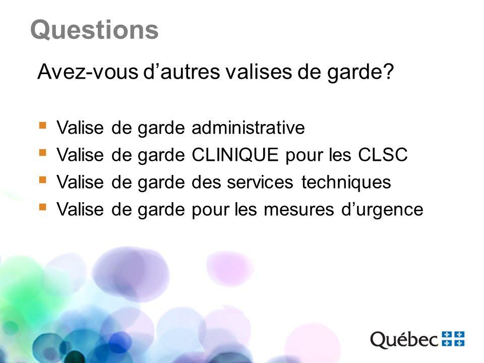 Questions Avez-vous dautres valises de garde? Valise de garde administrative Valise de garde CLINIQUE pour les CLSC Valise de garde des services techn