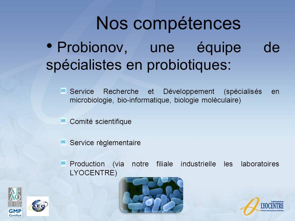 Nos compétences Probionov, une équipe de spécialistes en probiotiques: Service Recherche et Développement (spécialisés en microbiologie, bio-informati