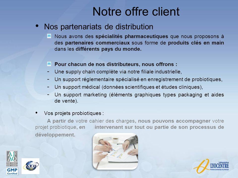 Notre offre client Nos partenariats de distribution Nous avons des spécialités pharmaceutiques que nous proposons à des partenaires commerciaux sous f