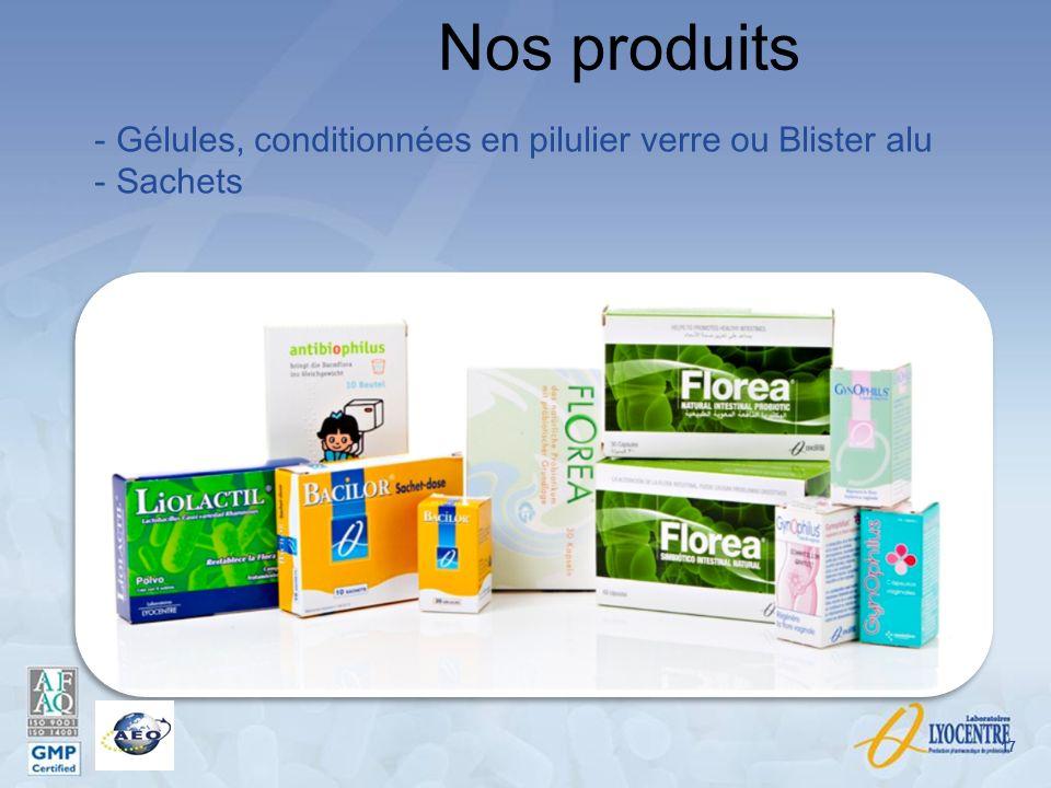 Nos produits 17 - Gélules, conditionnées en pilulier verre ou Blister alu - Sachets