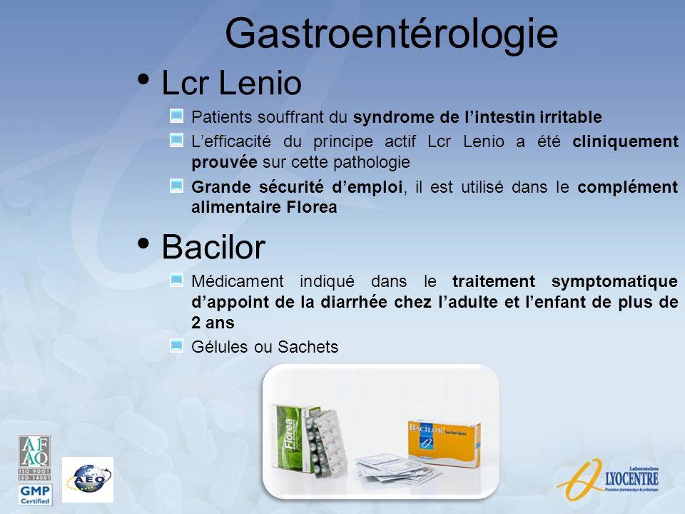 Gastroentérologie Lcr Lenio Patients souffrant du syndrome de lintestin irritable Lefficacité du principe actif Lcr Lenio a été cliniquement prouvée s