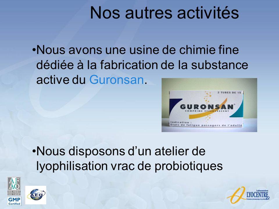 Nos autres activités Nous avons une usine de chimie fine dédiée à la fabrication de la substance active du Guronsan. Nous disposons dun atelier de lyo