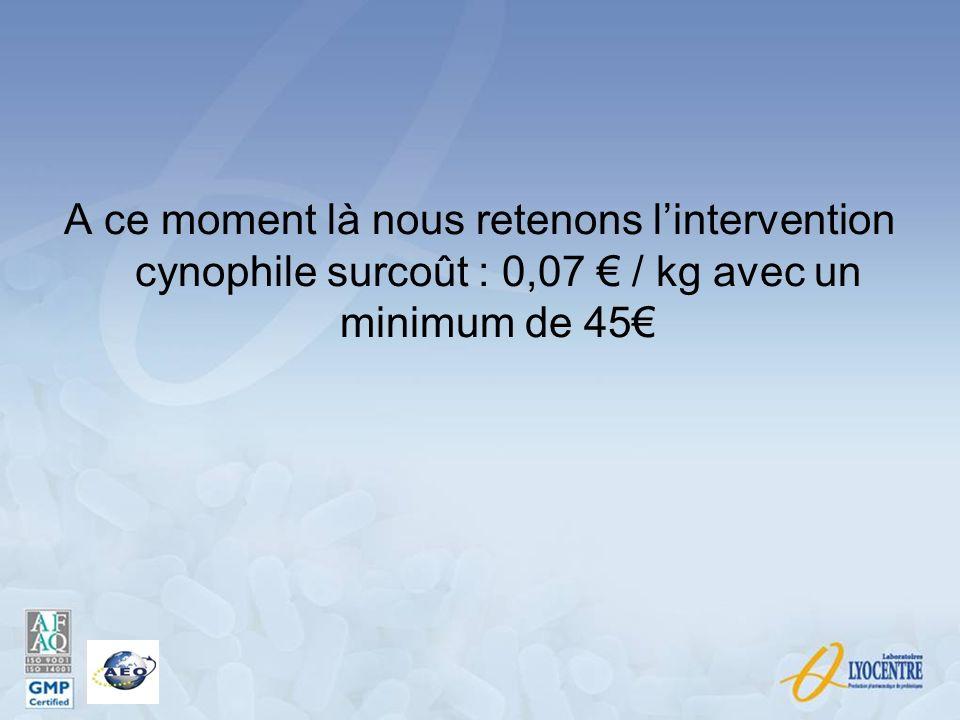 A ce moment là nous retenons lintervention cynophile surcoût : 0,07 / kg avec un minimum de 45