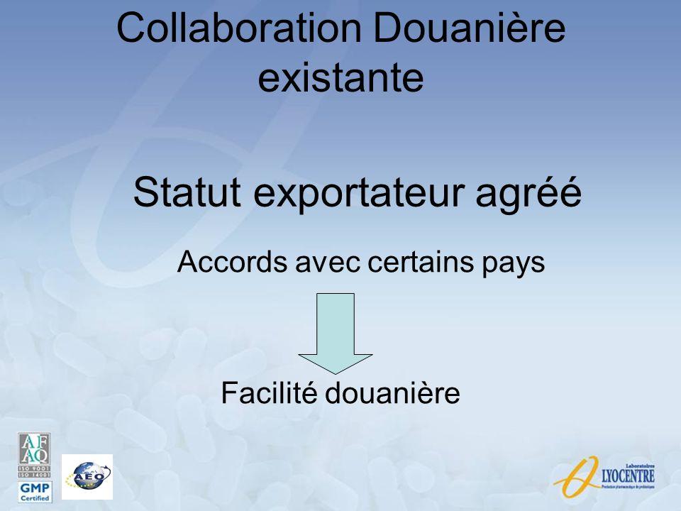 Statut exportateur agréé Accords avec certains pays Facilité douanière Collaboration Douanière existante
