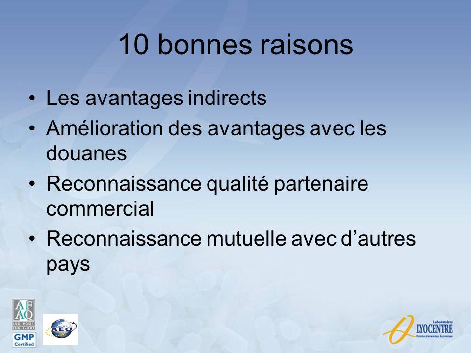 10 bonnes raisons Les avantages indirects Amélioration des avantages avec les douanes Reconnaissance qualité partenaire commercial Reconnaissance mutu