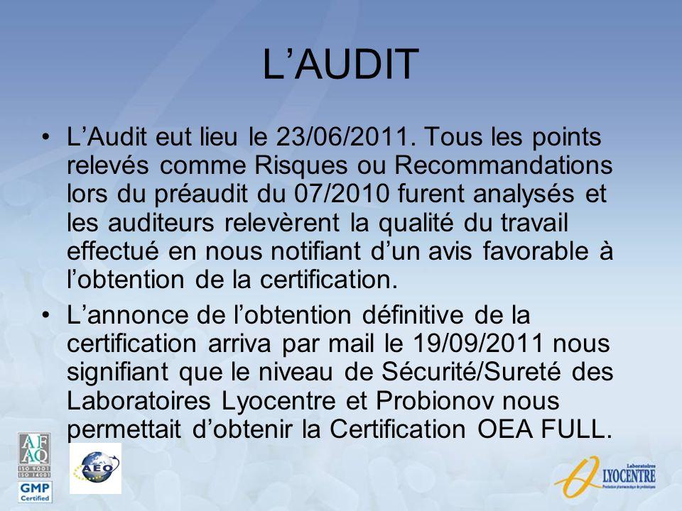 LAUDIT LAudit eut lieu le 23/06/2011. Tous les points relevés comme Risques ou Recommandations lors du préaudit du 07/2010 furent analysés et les audi