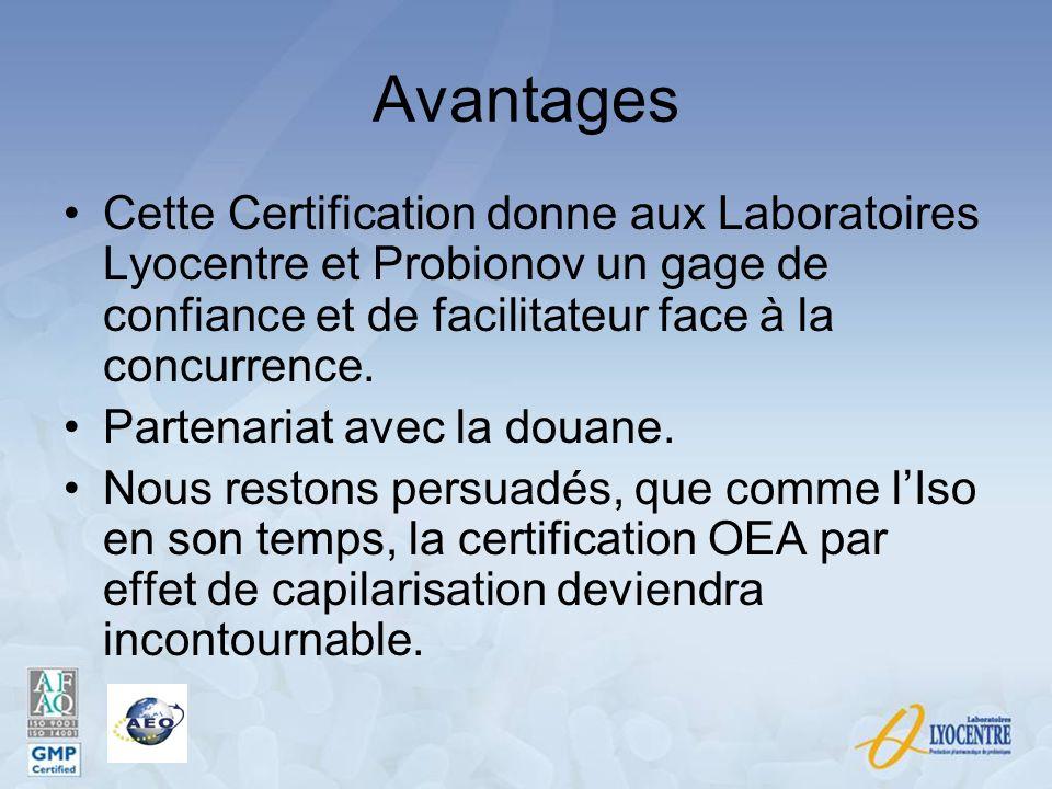 Avantages Cette Certification donne aux Laboratoires Lyocentre et Probionov un gage de confiance et de facilitateur face à la concurrence. Partenariat