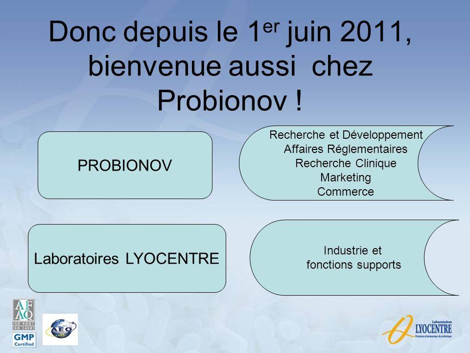 Donc depuis le 1 er juin 2011, bienvenue aussi chez Probionov ! PROBIONOV Laboratoires LYOCENTRE Recherche et Développement Affaires Réglementaires Re