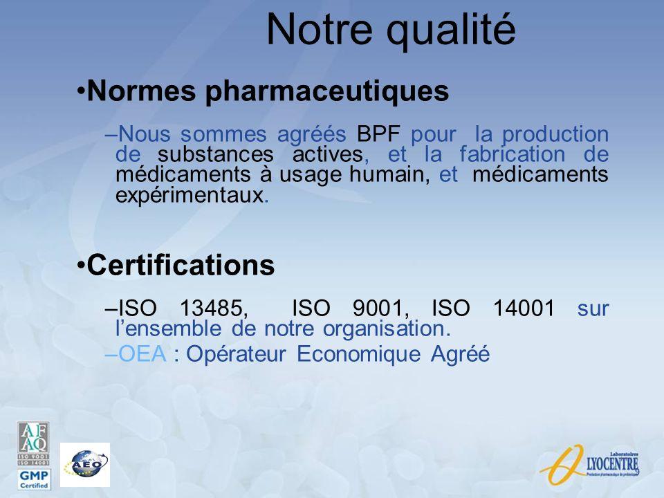 Notre qualité Normes pharmaceutiques –Nous sommes agréés BPF pour la production de substances actives, et la fabrication de médicaments à usage humain