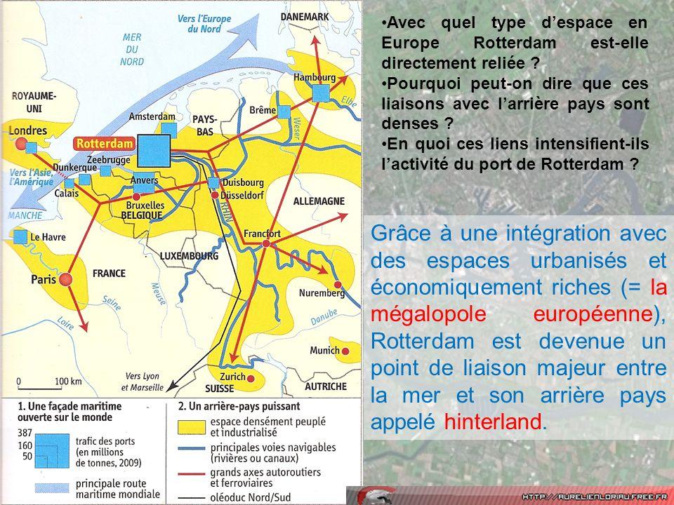 Avec quel type despace en Europe Rotterdam est-elle directement reliée ? Pourquoi peut-on dire que ces liaisons avec larrière pays sont denses ? En qu