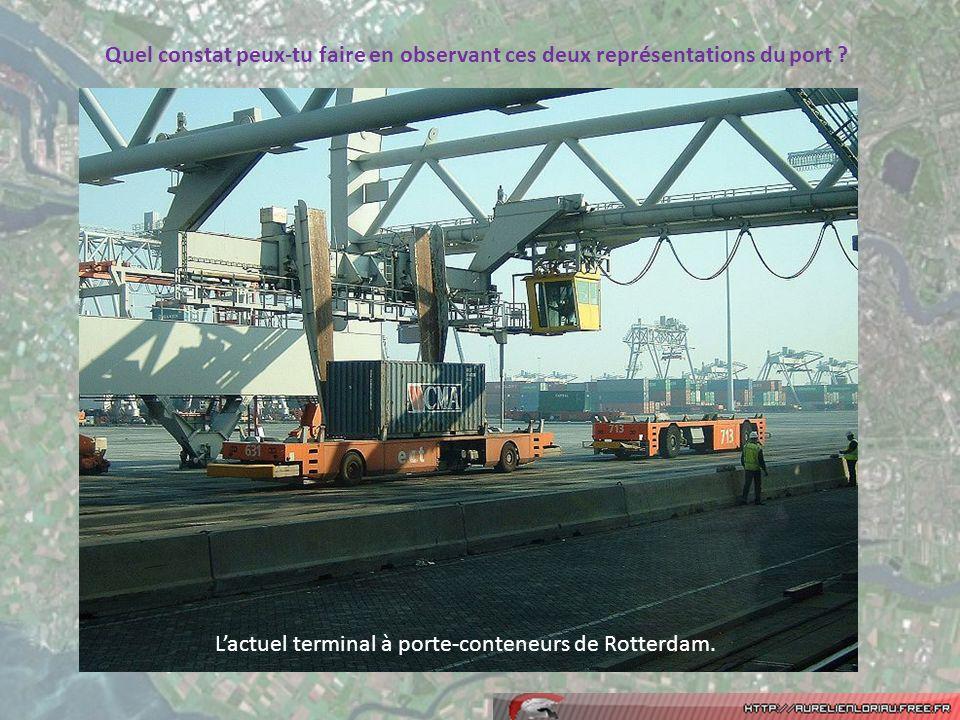Lactuel terminal à porte-conteneurs de Rotterdam. Quel constat peux-tu faire en observant ces deux représentations du port ?