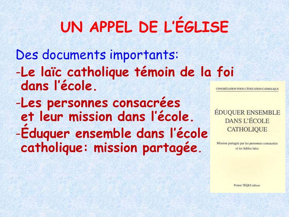 UN APPEL DE LÉGLISE Des documents importants: -Le laïc catholique témoin de la foi dans lécole. -Les personnes consacrées et leur mission dans lécole.