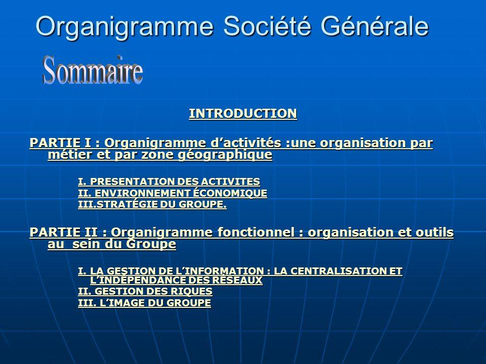 Organigramme Société Générale INTRODUCTION PARTIE I : Organigramme dactivités :une organisation par métier et par zone géographique PARTIE I : Organig