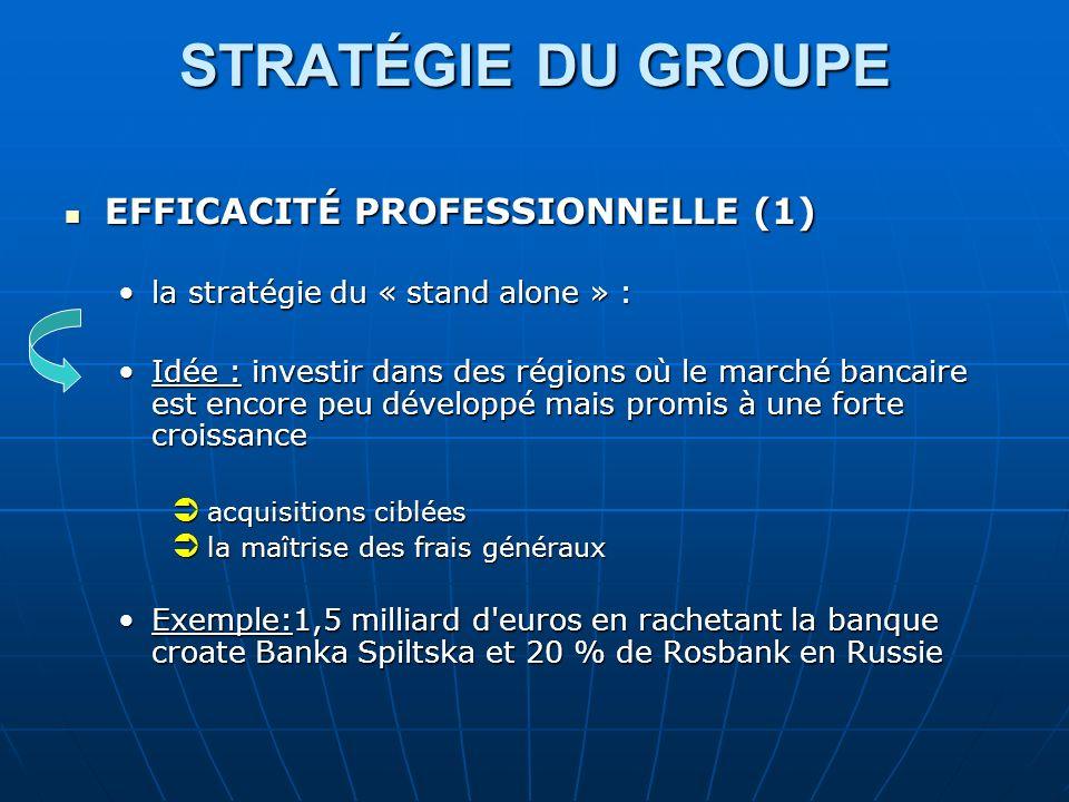 STRATÉGIE DU GROUPE STRATÉGIE DU GROUPE EFFICACITÉ PROFESSIONNELLE (1) EFFICACITÉ PROFESSIONNELLE (1) la stratégie du « stand alone » :la stratégie du