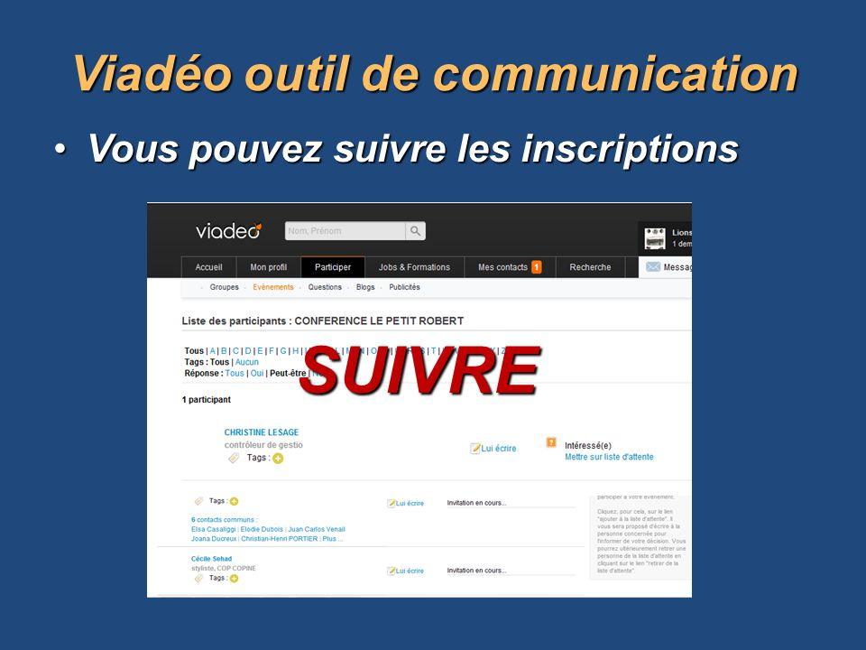Vous pouvez suivre les inscriptionsVous pouvez suivre les inscriptions Viadéooutil de communication Viadéo outil de communication SUIVRE