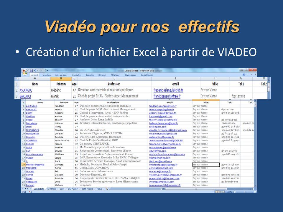 Viadéo pour nos effectifs Création dun fichier Excel à partir de VIADEO