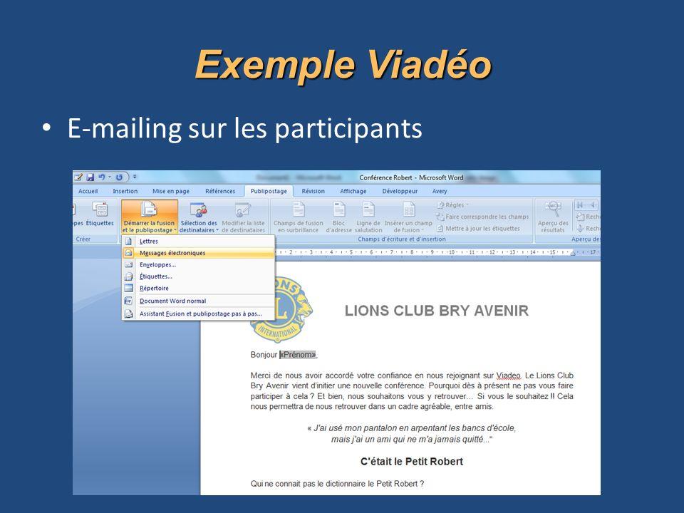 E-mailing sur les participants Exemple Viadéo
