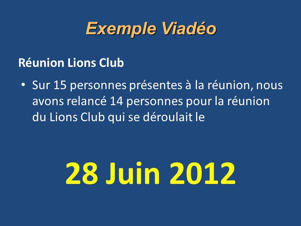 Réunion Lions Club Sur 15 personnes présentes à la réunion, nous avons relancé 14 personnes pour la réunion du Lions Club qui se déroulait le 28 Juin 2012 Exemple Viadéo