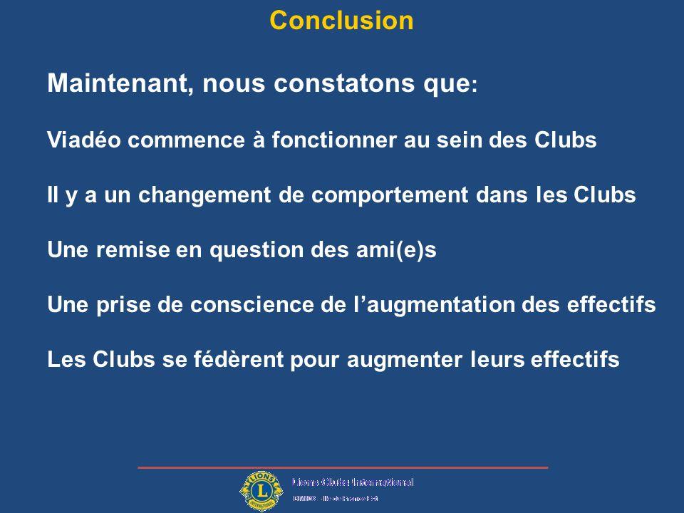 Conclusion Maintenant, nous constatons que : Viadéo commence à fonctionner au sein des Clubs Il y a un changement de comportement dans les Clubs Une remise en question des ami(e)s Une prise de conscience de laugmentation des effectifs Les Clubs se fédèrent pour augmenter leurs effectifs