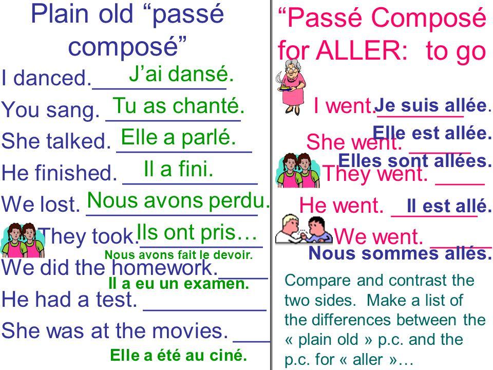 Plain old passé composé I danced.___________ You sang.