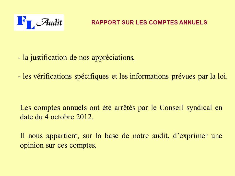 - la justification de nos appréciations, - les vérifications spécifiques et les informations prévues par la loi.