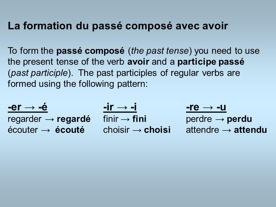 Combine avoir and the participe passé and you get the passé composé : Jai gagné le match.