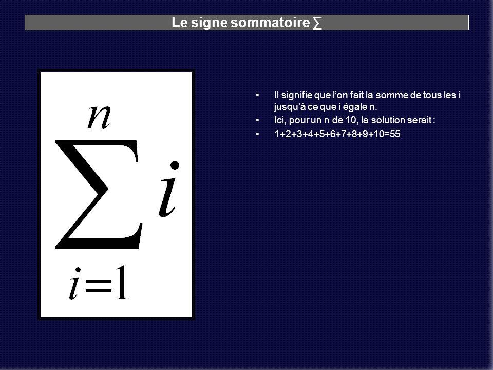 Le signe sommatoire Il signifie que lon fait la somme de tous les i jusquà ce que i égale n. Ici, pour un n de 10, la solution serait : 1+2+3+4+5+6+7+