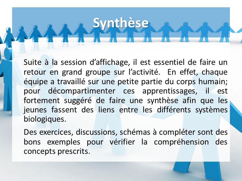 Synthèse Suite à la session daffichage, il est essentiel de faire un retour en grand groupe sur lactivité.
