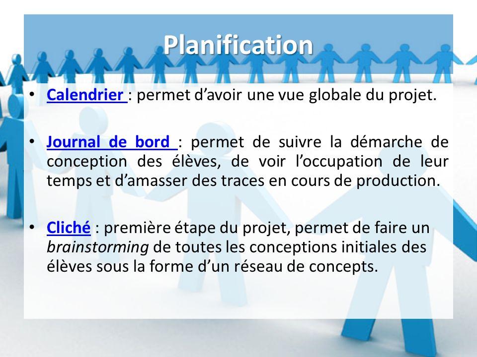 Planification Calendrier : permet davoir une vue globale du projet.
