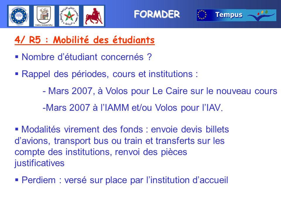 FORMDER 4/ R5 : Mobilité des étudiants Nombre détudiant concernés ? Rappel des périodes, cours et institutions : - Mars 2007, à Volos pour Le Caire su
