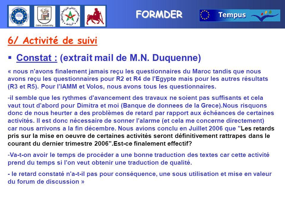 FORMDER 6/ Activité de suivi Constat : (extrait mail de M.N. Duquenne) « nous n'avons finalement jamais reçu les questionnaires du Maroc tandis que no