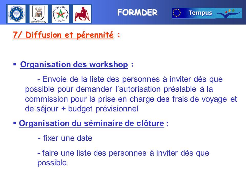 FORMDER 7/ Diffusion et pérennité : Organisation des workshop : - Envoie de la liste des personnes à inviter dés que possible pour demander lautorisat