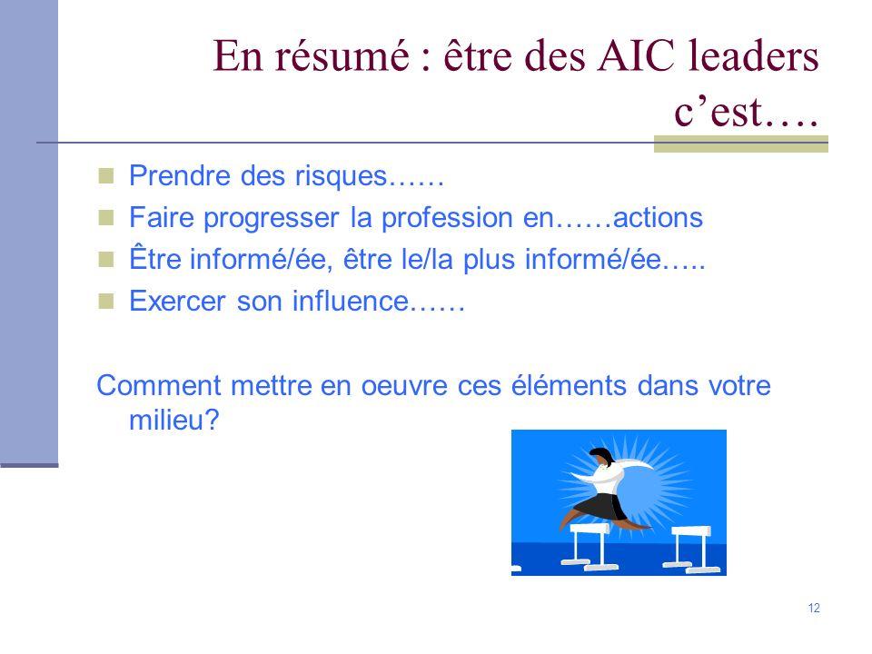 12 En résumé : être des AIC leaders cest…. Prendre des risques…… Faire progresser la profession en……actions Être informé/ée, être le/la plus informé/é