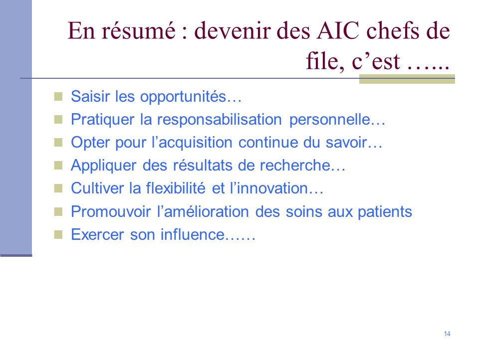 14 En résumé : devenir des AIC chefs de file, cest …... Saisir les opportunités… Pratiquer la responsabilisation personnelle… Opter pour lacquisition