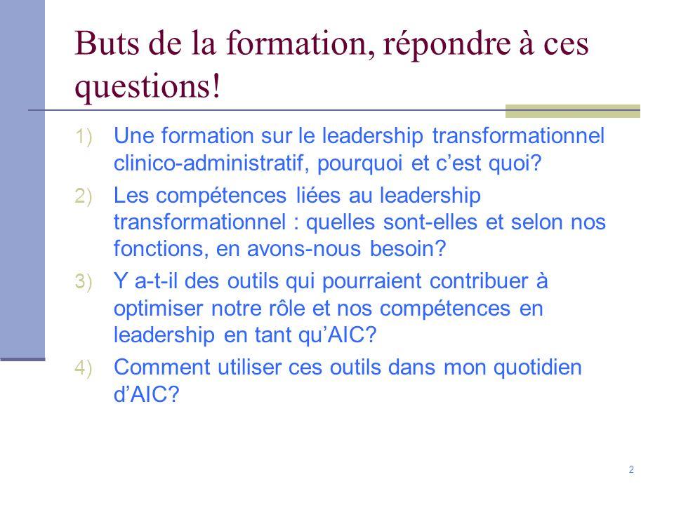 2 Buts de la formation, répondre à ces questions! 1) Une formation sur le leadership transformationnel clinico-administratif, pourquoi et cest quoi? 2