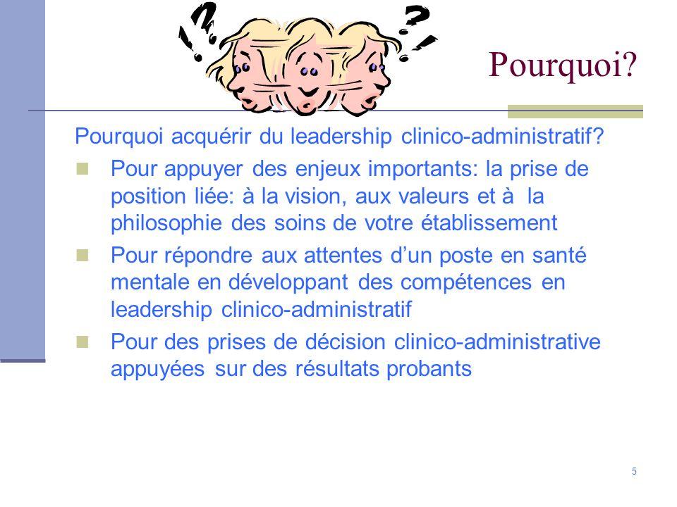 5 Pourquoi? Pourquoi acquérir du leadership clinico-administratif? Pour appuyer des enjeux importants: la prise de position liée: à la vision, aux val