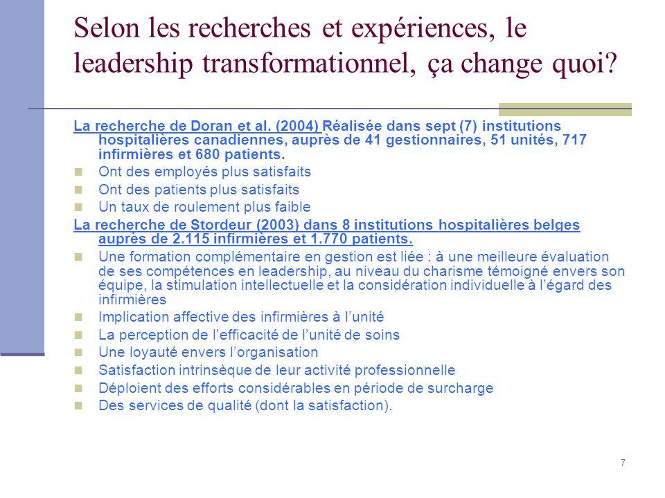 7 Selon les recherches et expériences, le leadership transformationnel, ça change quoi? La recherche de Doran et al. (2004) Réalisée dans sept (7) ins
