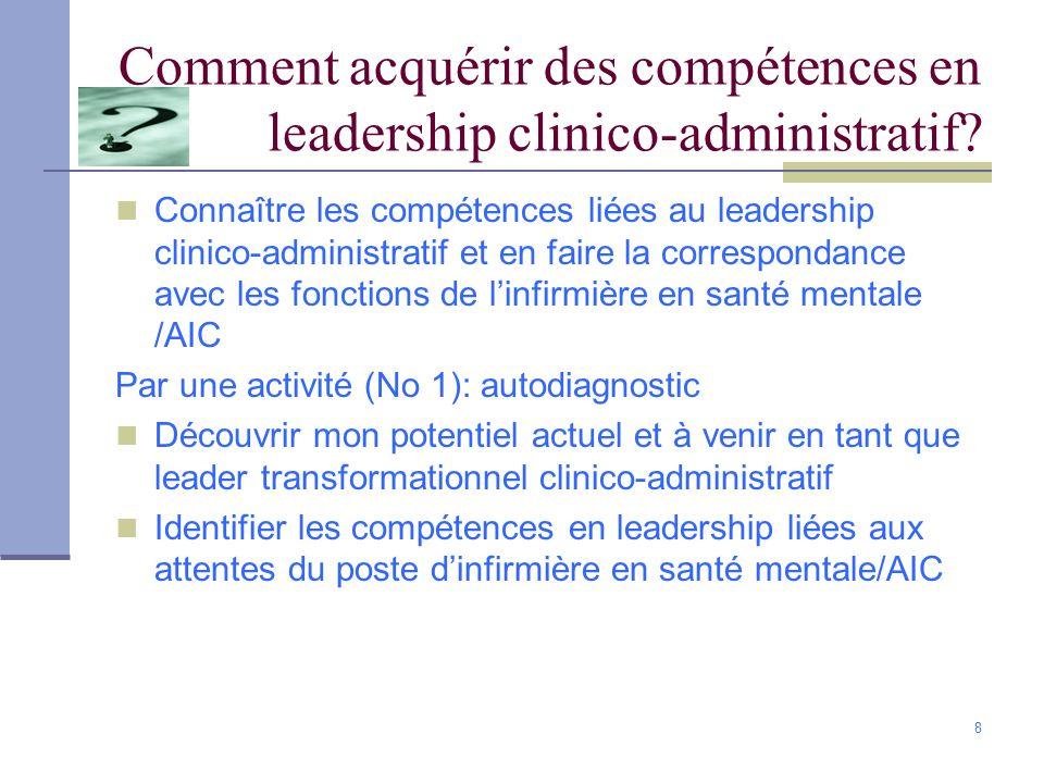 8 Comment acquérir des compétences en leadership clinico-administratif? Connaître les compétences liées au leadership clinico-administratif et en fair
