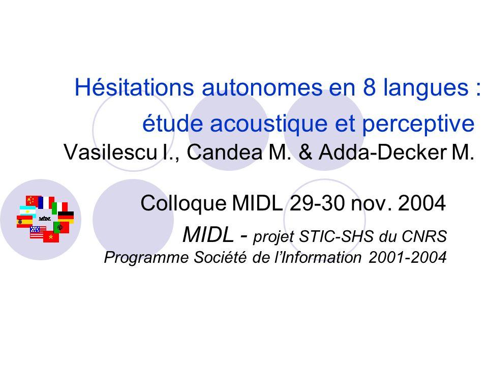 Durée Timbre de la voyelle : F1, F2, F3 Hauteur & contour de la fréquence fondamentale F0 Qualité de voix Paramètres étudiés : voyelle dhésitation vs voyelle intra-lexicale de timbre similaire