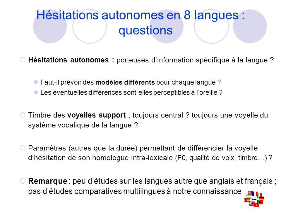 Hésitations autonomes en 8 langues : questions Hésitations autonomes : porteuses dinformation spécifique à la langue ? Faut-il prévoir des modèles dif