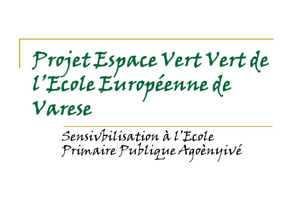 Projet Espace Vert Vert de lEcole Européenne de Varese Sensivbilisation à lEcole Primaire Publique Agoènyivé