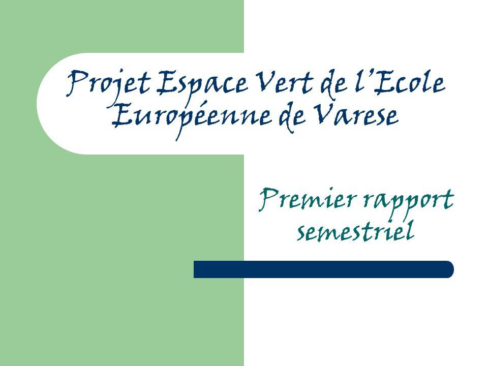 Projet Espace Vert de lEcole Européenne de Varese Premier rapport semestriel