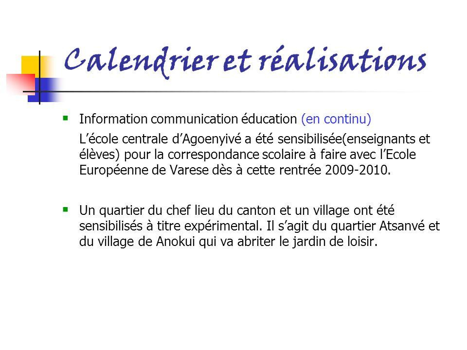 Calendrier et réalisations I nformation communication éducation (en continu) Lécole centrale dAgoenyivé a été sensibilisée(enseignants et élèves) pour