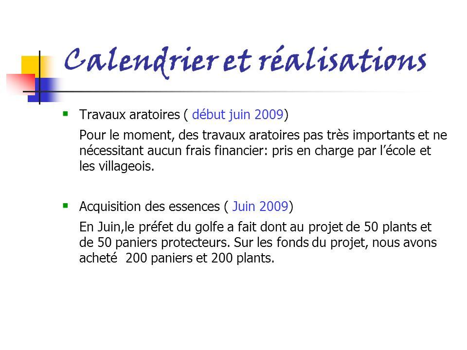 Calendrier et réalisations Travaux aratoires ( début juin 2009) Pour le moment, des travaux aratoires pas très importants et ne nécessitant aucun frai