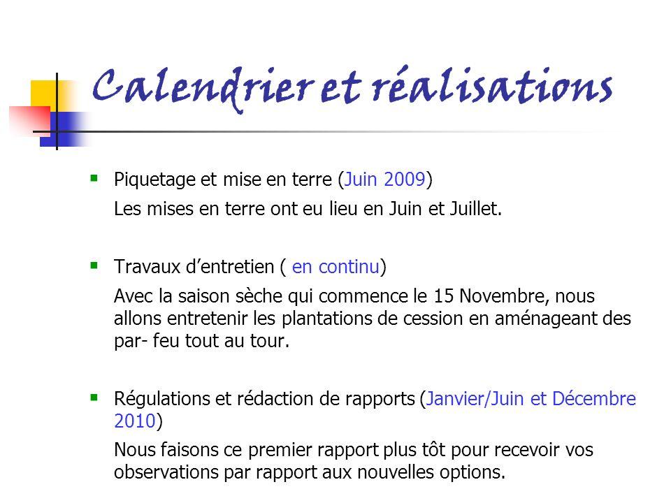 Calendrier et réalisations Piquetage et mise en terre (Juin 2009) Les mises en terre ont eu lieu en Juin et Juillet. Travaux dentretien ( en continu)