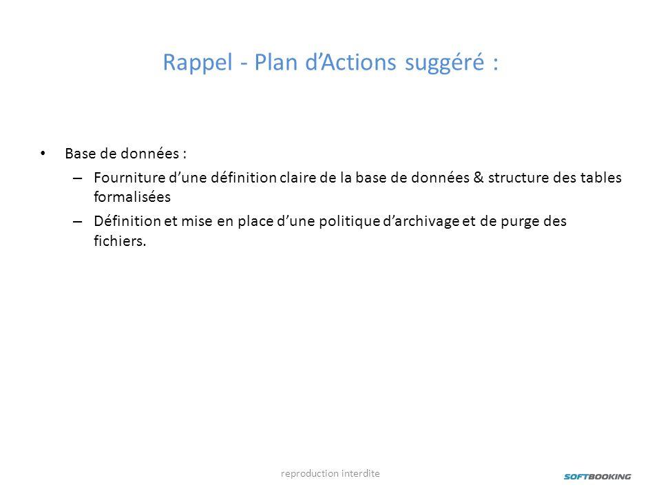 Rappel - Plan dActions suggéré : Base de données : – Fourniture dune définition claire de la base de données & structure des tables formalisées – Défi