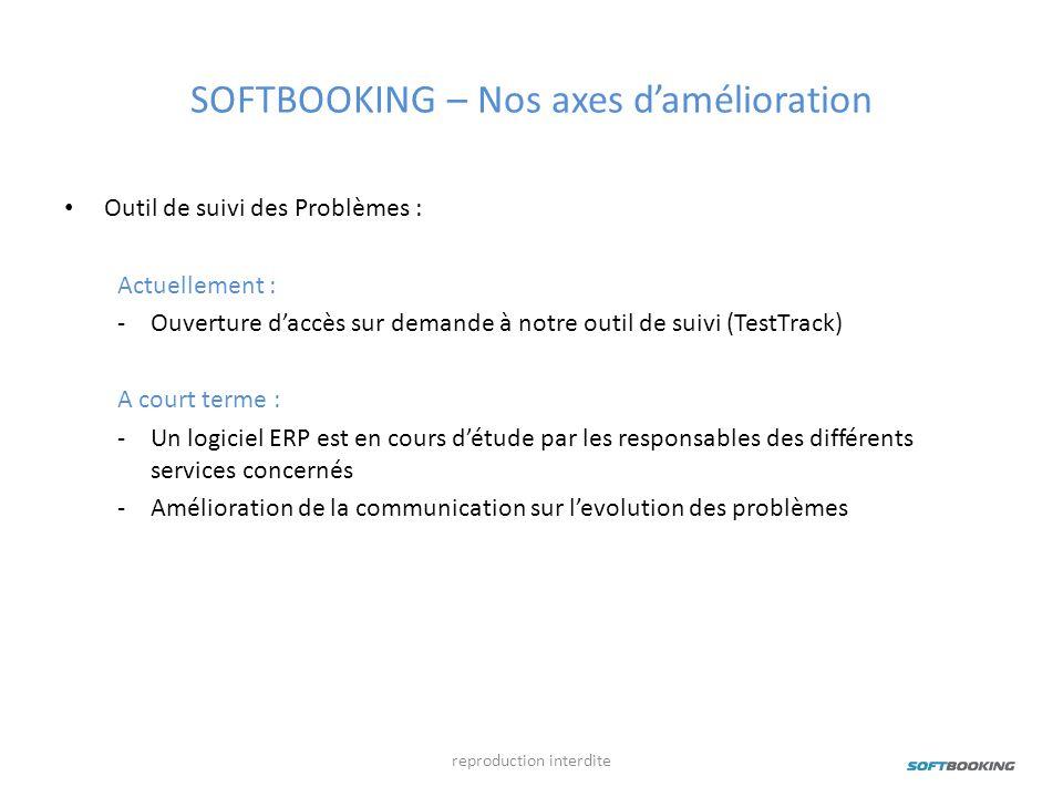 SOFTBOOKING – Nos axes damélioration Outil de suivi des Problèmes : Actuellement : -Ouverture daccès sur demande à notre outil de suivi (TestTrack) A