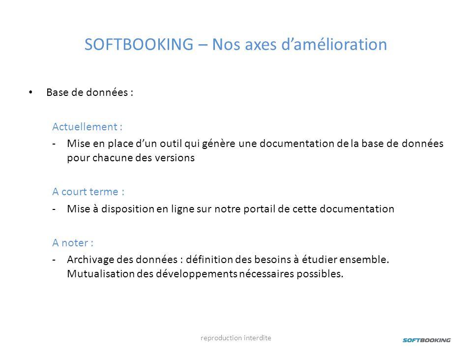 SOFTBOOKING – Nos axes damélioration Base de données : Actuellement : -Mise en place dun outil qui génère une documentation de la base de données pour
