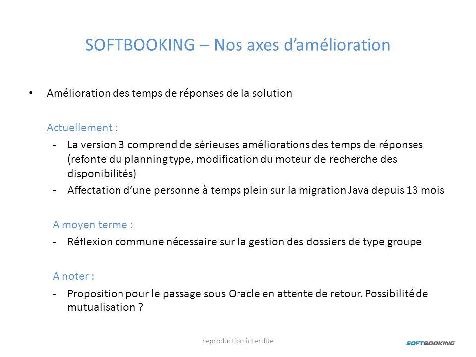 SOFTBOOKING – Nos axes damélioration Amélioration des temps de réponses de la solution Actuellement : -La version 3 comprend de sérieuses amélioration