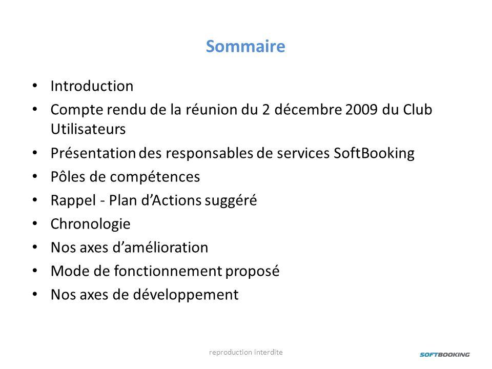 Sommaire Introduction Compte rendu de la réunion du 2 décembre 2009 du Club Utilisateurs Présentation des responsables de services SoftBooking Pôles d